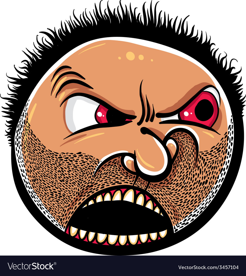 Angry cartoon face with stubble vector | Price: 1 Credit (USD $1)