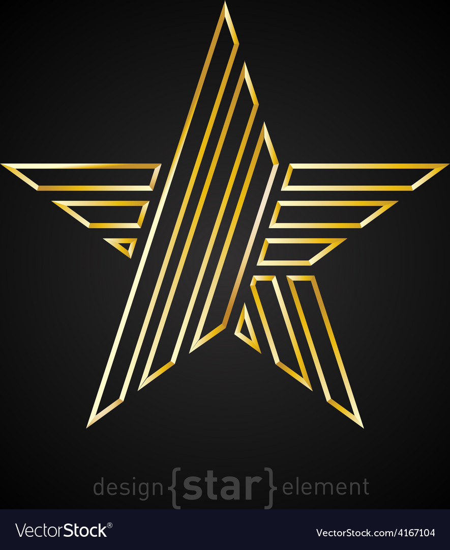 Beautiful gold star made of thin lines on black vector   Price: 1 Credit (USD $1)