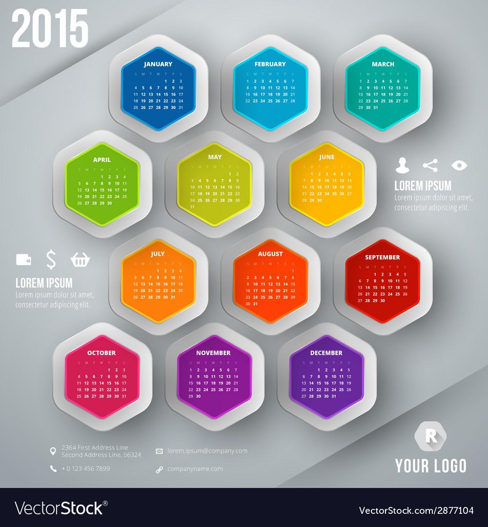 Calendar 2015 template week starts sunday vector | Price: 1 Credit (USD $1)