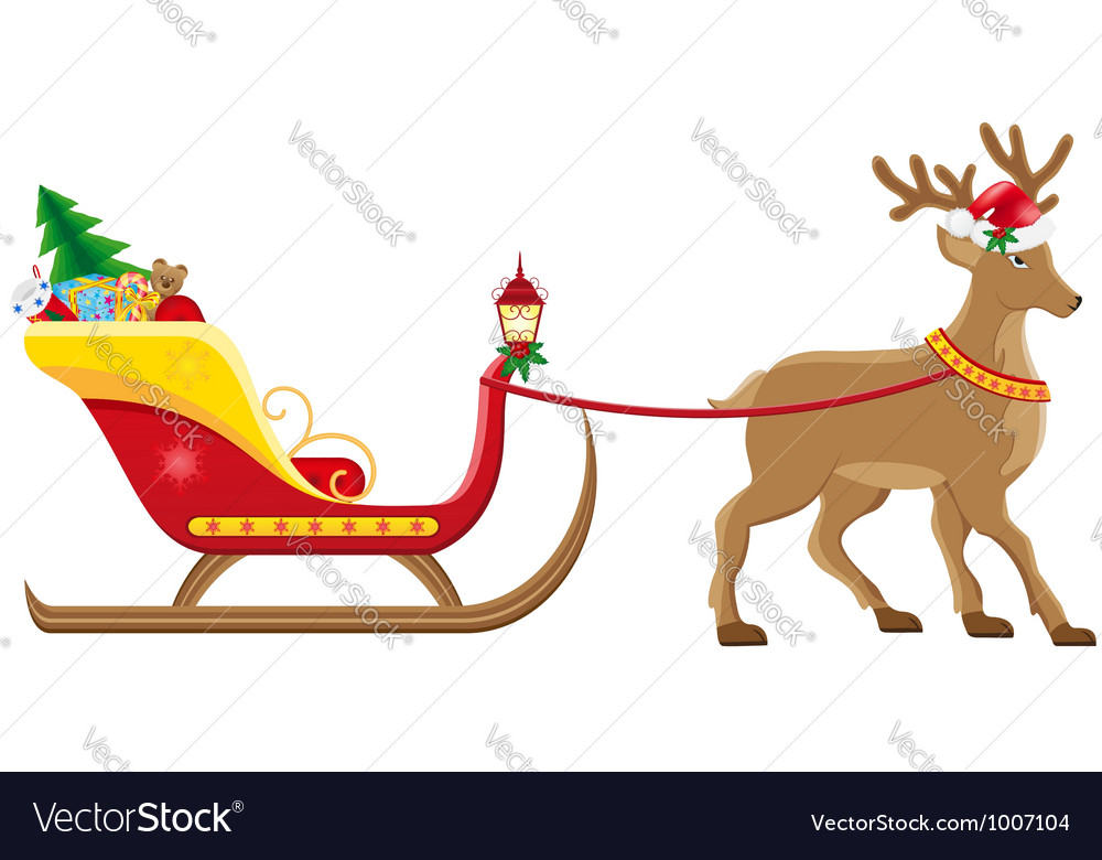 Christmas santa sleigh 04 vector | Price: 3 Credit (USD $3)