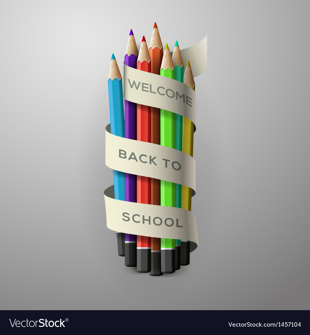 Colorful pencil crayons with text back to school vector | Price: 1 Credit (USD $1)