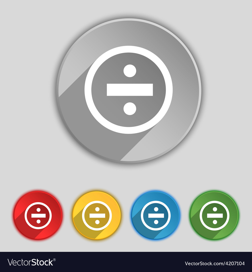 Dividing icon sign symbol on five flat buttons vector | Price: 1 Credit (USD $1)