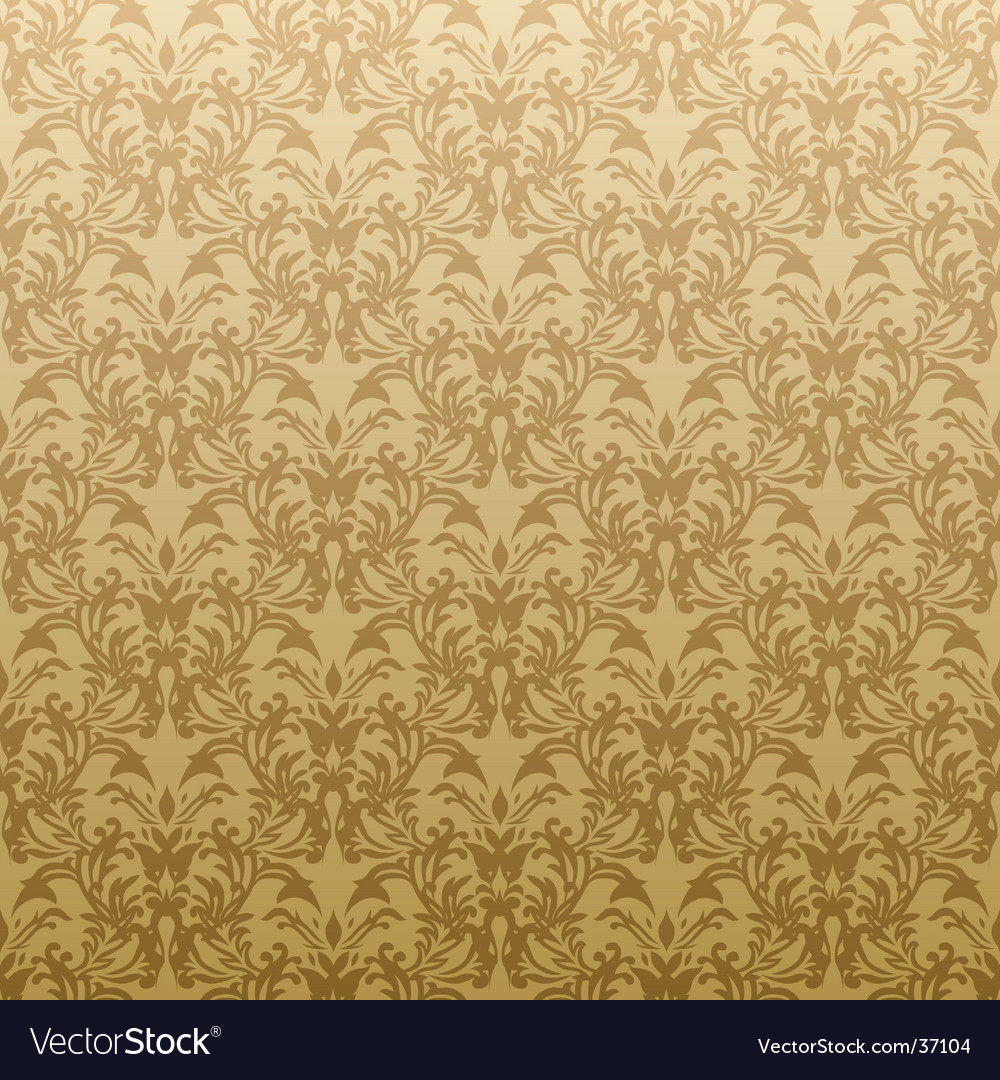 Floral golden wallpaper vector | Price: 1 Credit (USD $1)