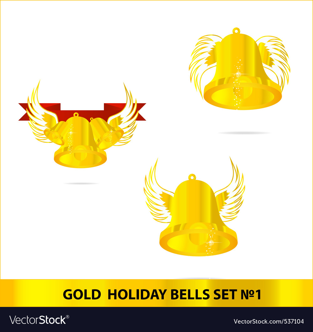 Glass gold bells set isolated vector | Price: 1 Credit (USD $1)