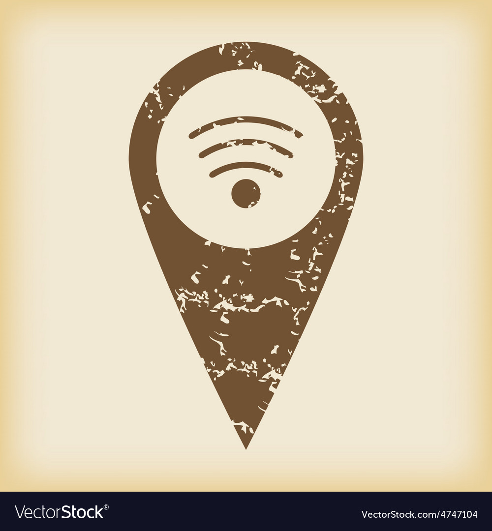 Grungy wi-fi pointer icon vector | Price: 1 Credit (USD $1)