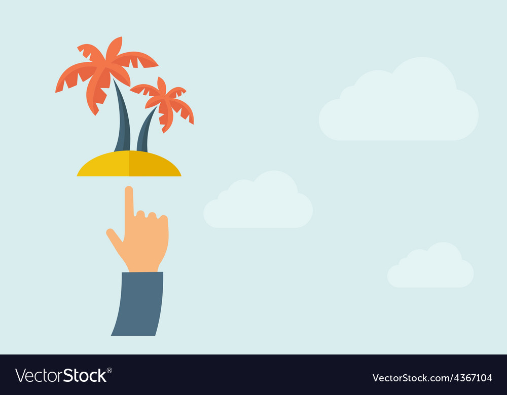 Hand pointing palm tree vector | Price: 1 Credit (USD $1)