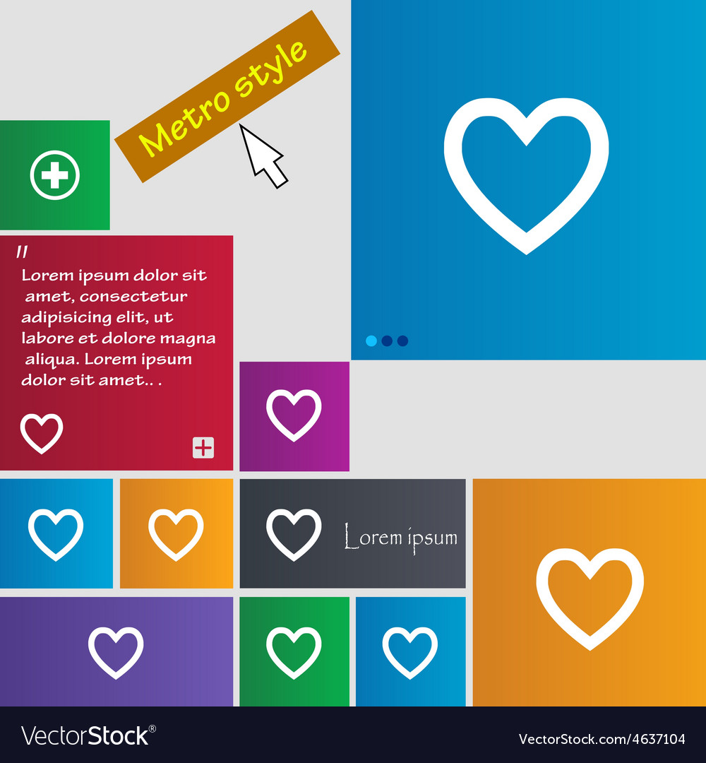 Medical heart love icon sign metro style buttons vector | Price: 1 Credit (USD $1)