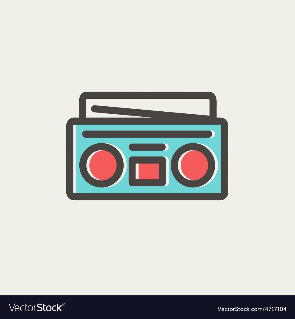 Radio cassette player thin line icon vector   Price: 1 Credit (USD $1)