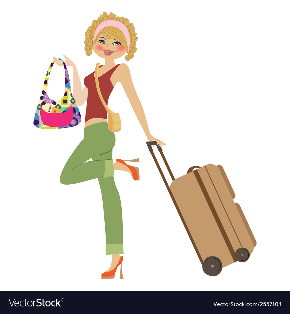 Young woman with suitcase vector | Price: 1 Credit (USD $1)