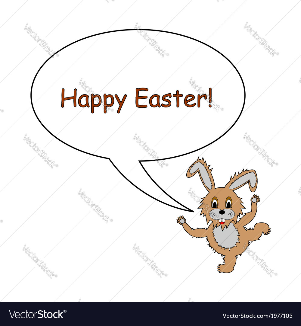 A funny easter bunny rabbit with a speech bubble vector | Price: 1 Credit (USD $1)