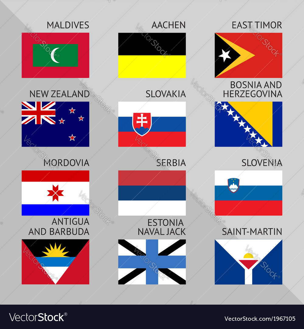 Flags of world flat set number 12 vector | Price: 1 Credit (USD $1)