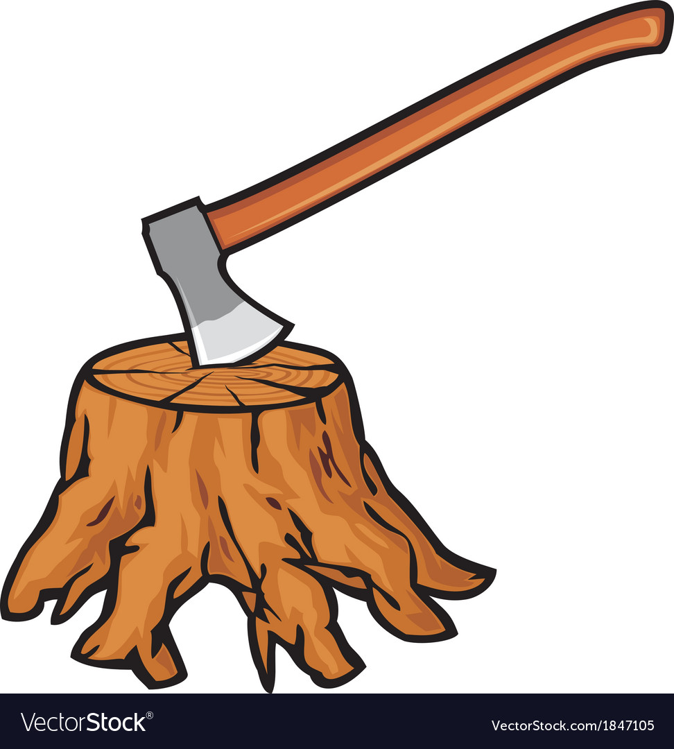Old tree stump with roots and axe vector | Price: 1 Credit (USD $1)