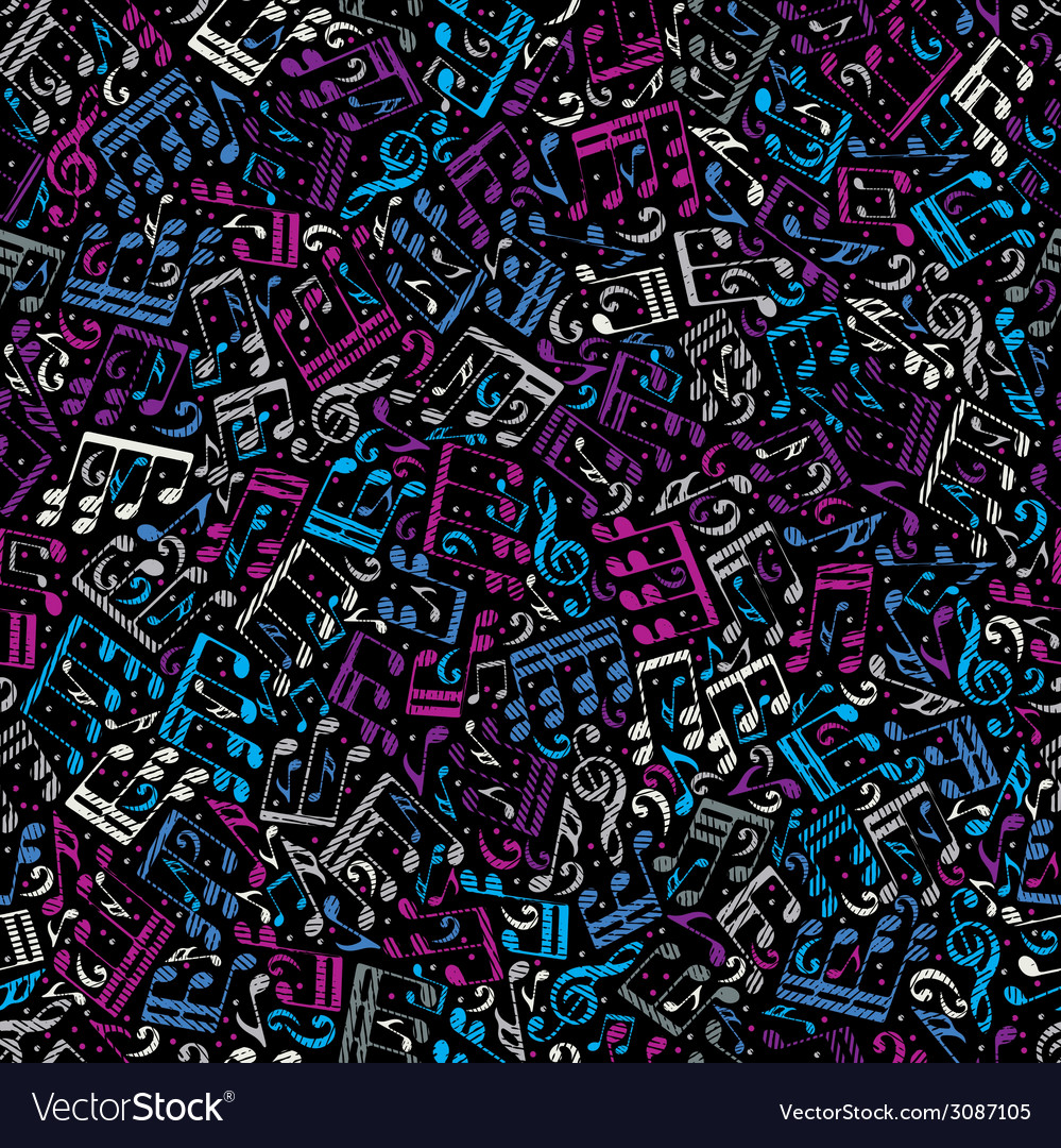 Pink and blue musical notes seamless pattern over vector | Price: 1 Credit (USD $1)
