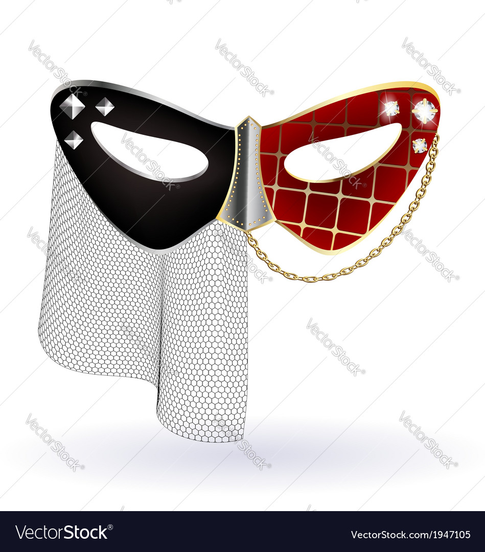 Red black carnival mask with veil vector | Price: 1 Credit (USD $1)