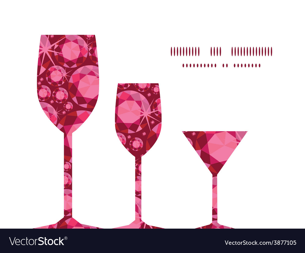Ruby three wine glasses silhouettes pattern vector | Price: 1 Credit (USD $1)