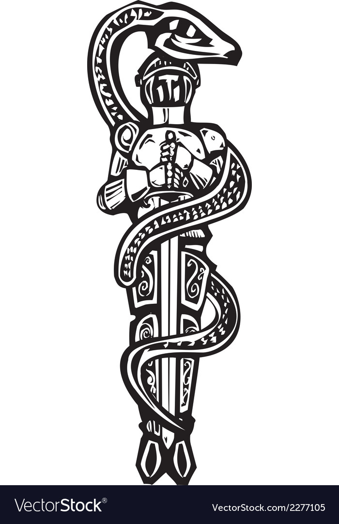 Saint george and serpent vector | Price: 1 Credit (USD $1)