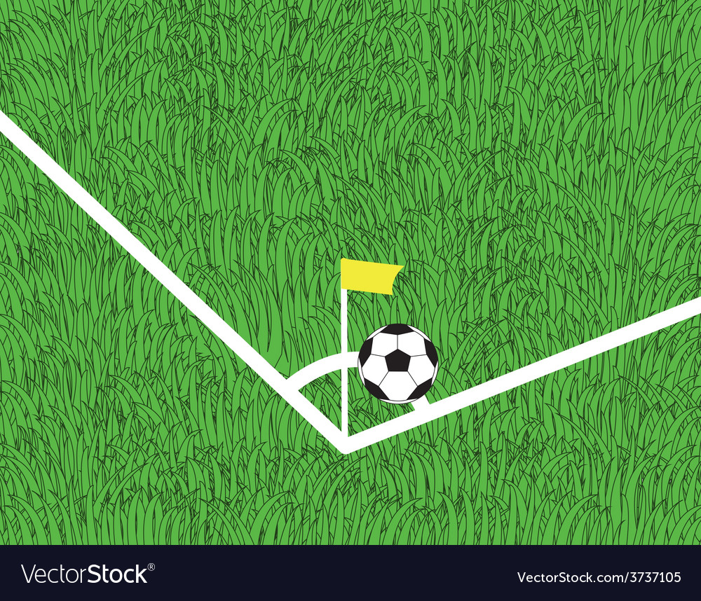 Soccer ball is corner kick on the field vector | Price: 1 Credit (USD $1)