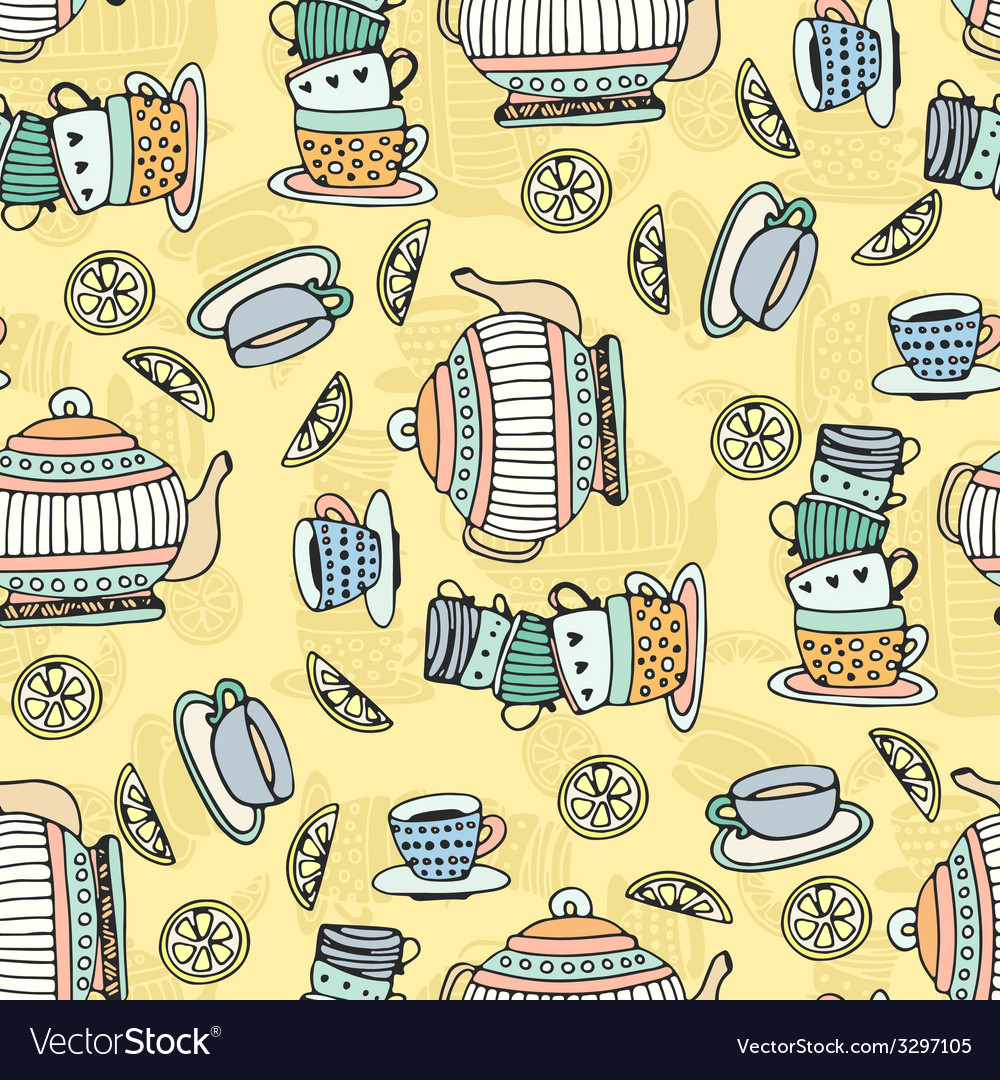 Tea cups seamless pattern vector | Price: 1 Credit (USD $1)