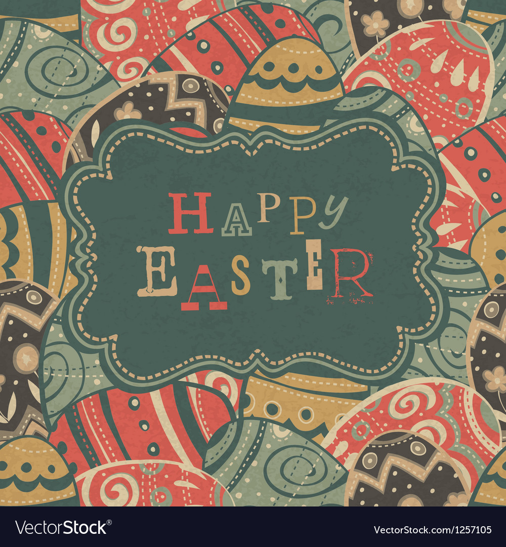 Vintage easter gtreetings vector | Price: 3 Credit (USD $3)