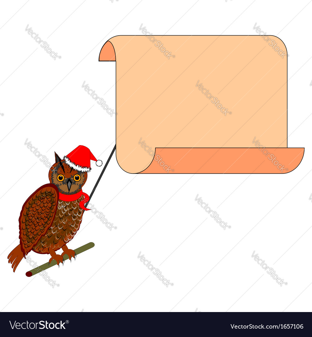A christmas owl with a big blank paper in his beak vector | Price: 1 Credit (USD $1)