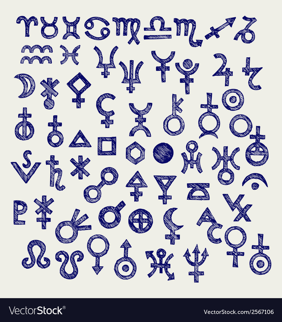 Astrological symbols vector | Price: 1 Credit (USD $1)