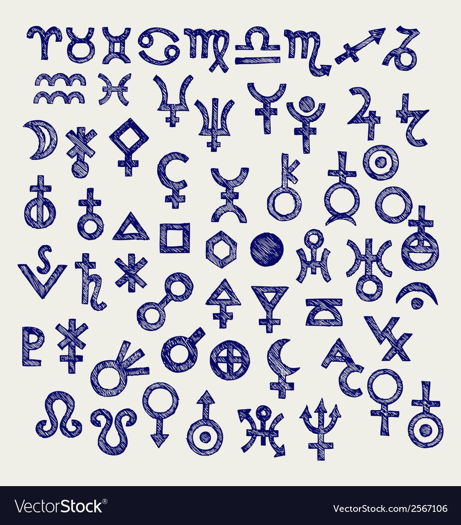 Astrological symbols vector | Price: 1 Credit (USD $1)