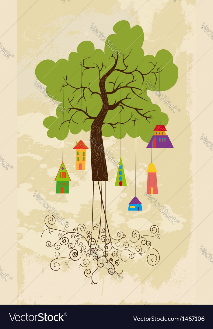 Cute colorful tree bird house vector | Price: 1 Credit (USD $1)