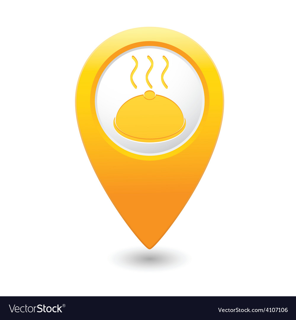 Dish map pointer yellow vector | Price: 1 Credit (USD $1)