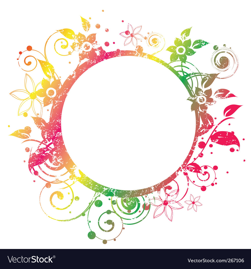 Floral round frame 2 v vector | Price: 1 Credit (USD $1)
