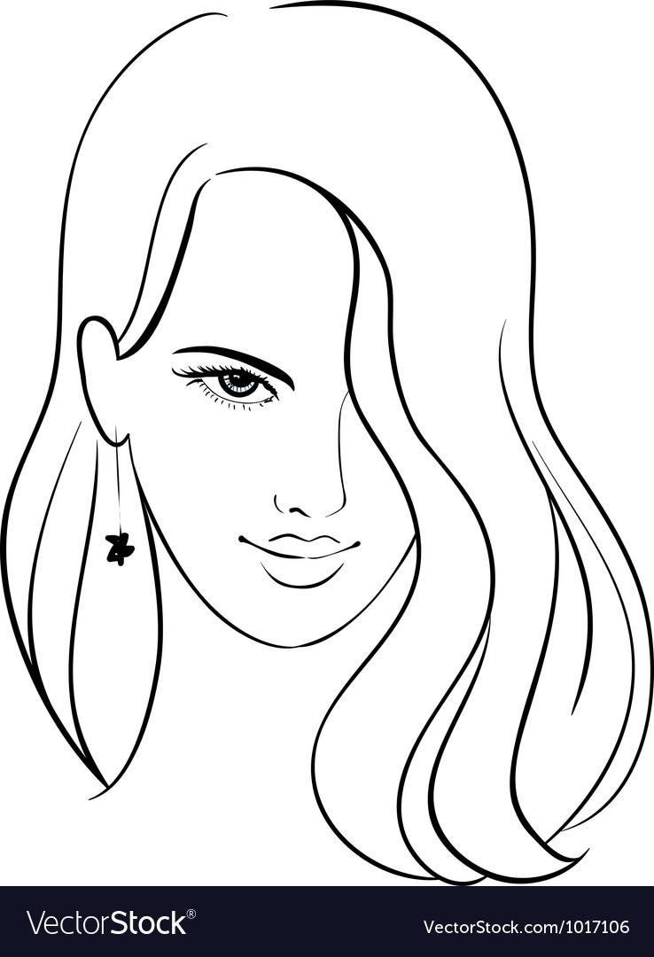 Girl face with beautiful hair sketch vector | Price: 1 Credit (USD $1)