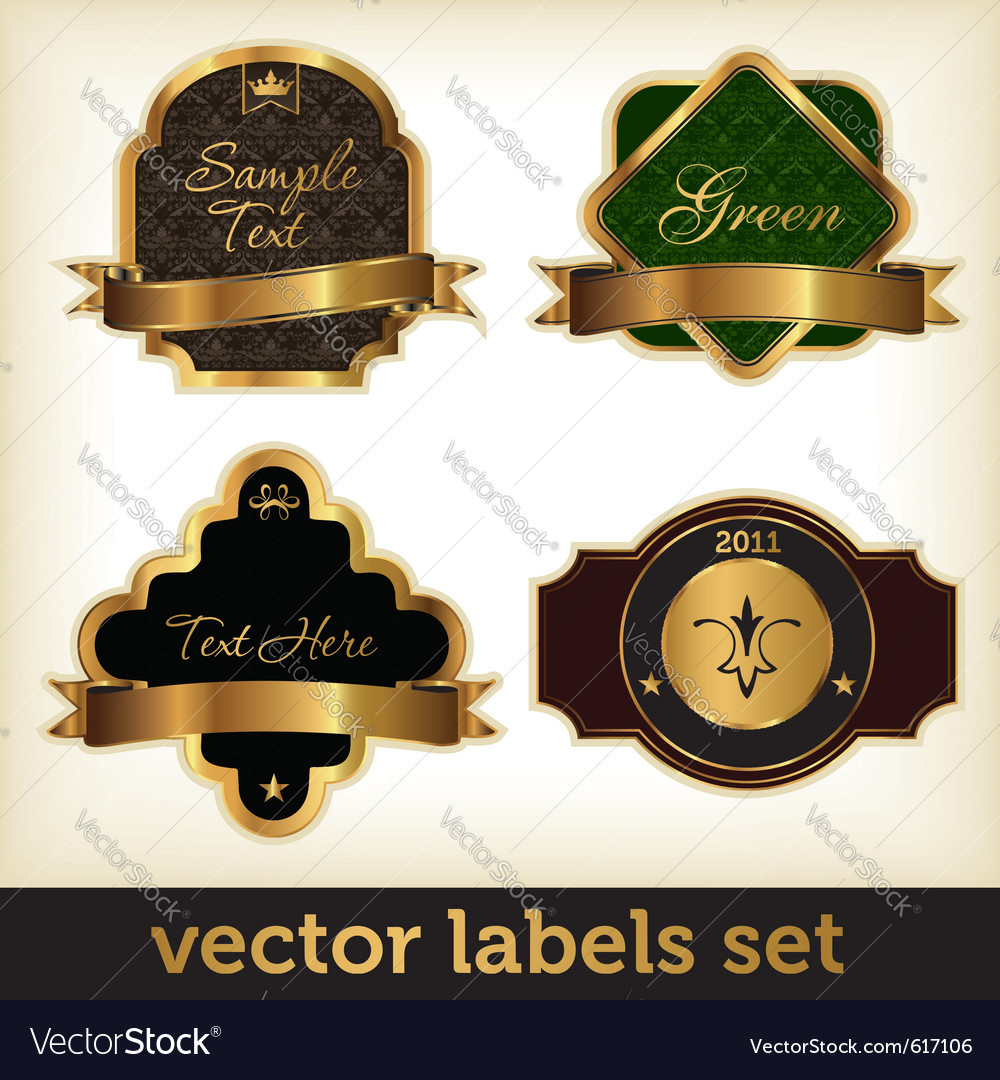 Golden labels set vector | Price: 1 Credit (USD $1)