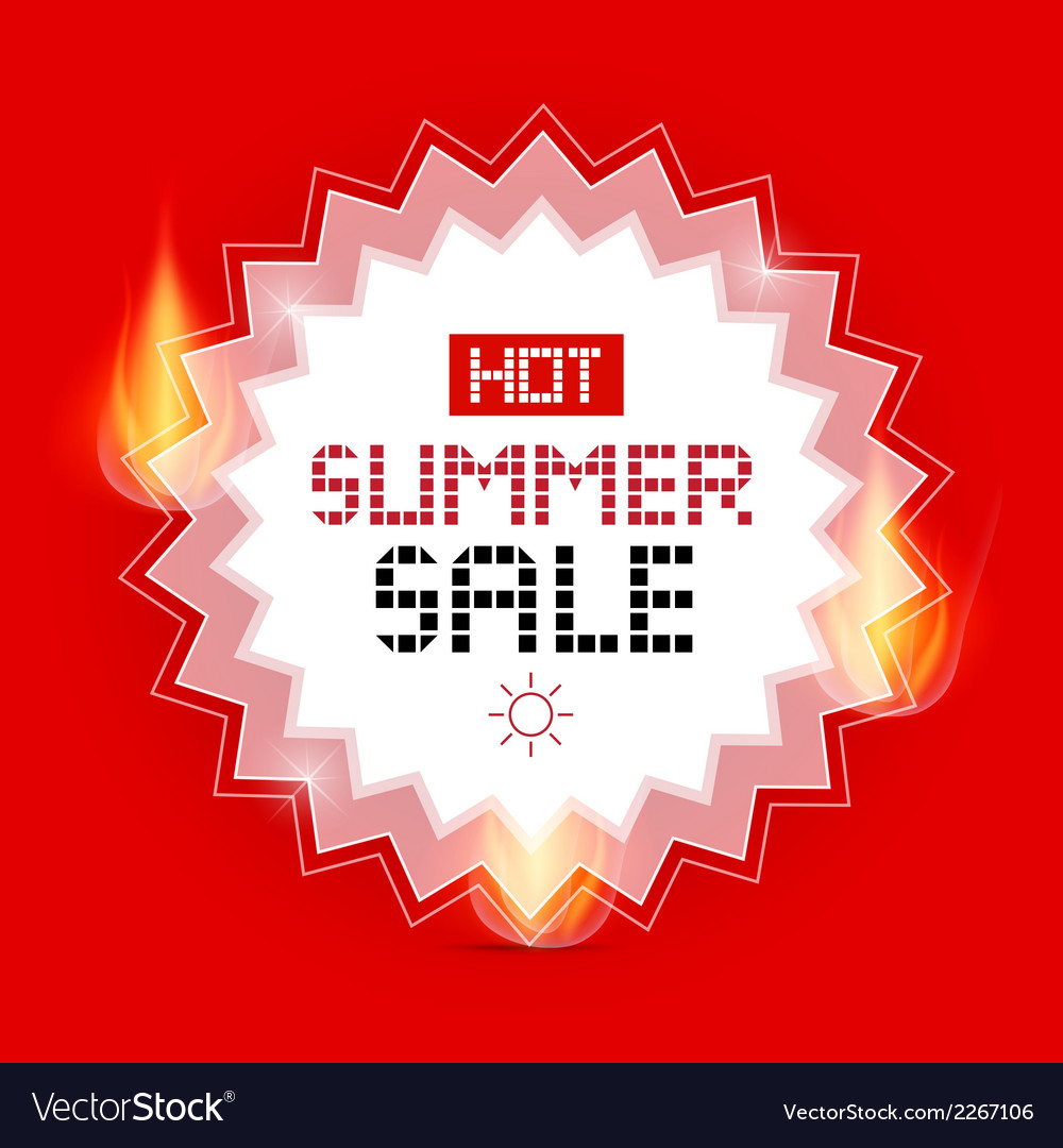 Hot summer sale background with flames vector
