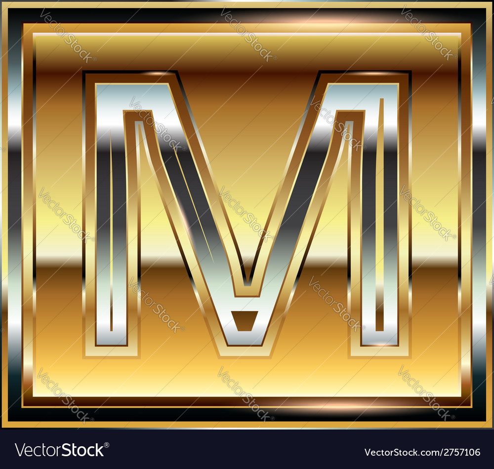 Ingot font letter m vector | Price: 1 Credit (USD $1)