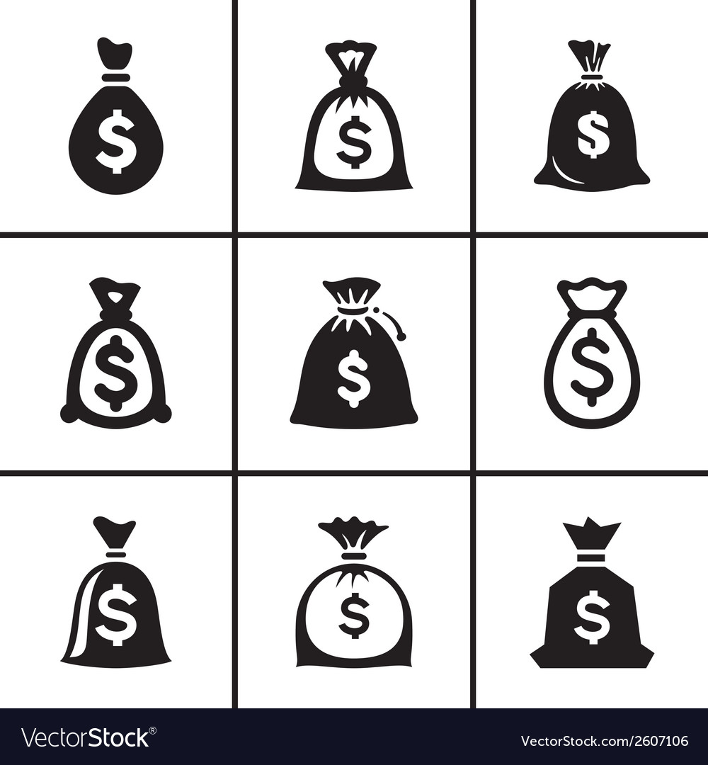 Money bags icon set vector | Price: 1 Credit (USD $1)