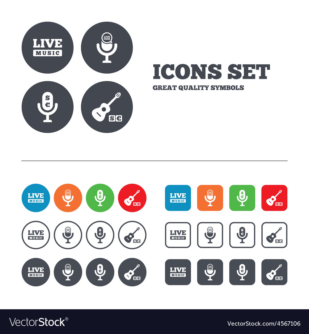 Musical elements icon microphone live music vector | Price: 1 Credit (USD $1)