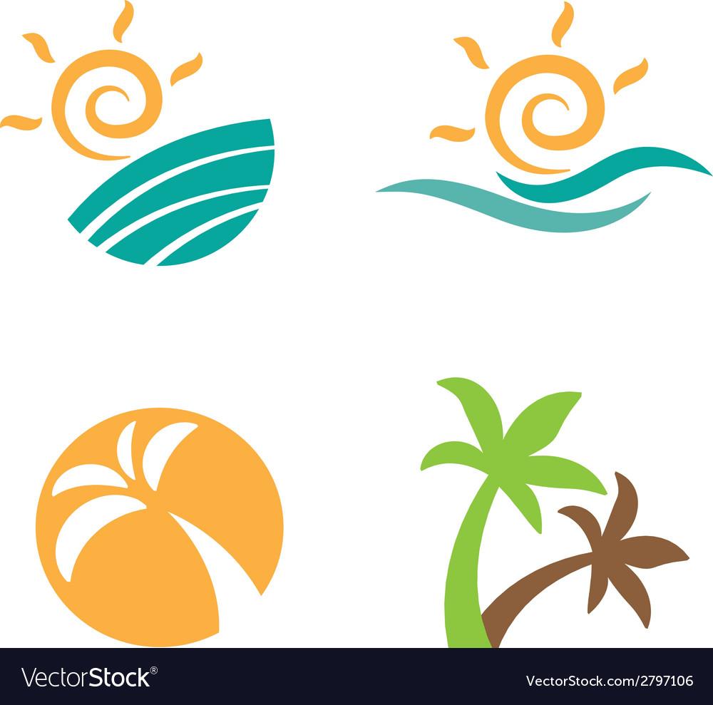 Set logos beach summer vector | Price: 1 Credit (USD $1)