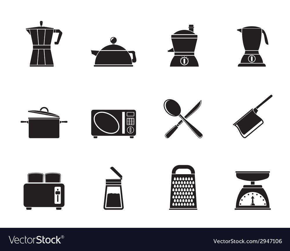 Silhouette kitchen and household equipment icon vector