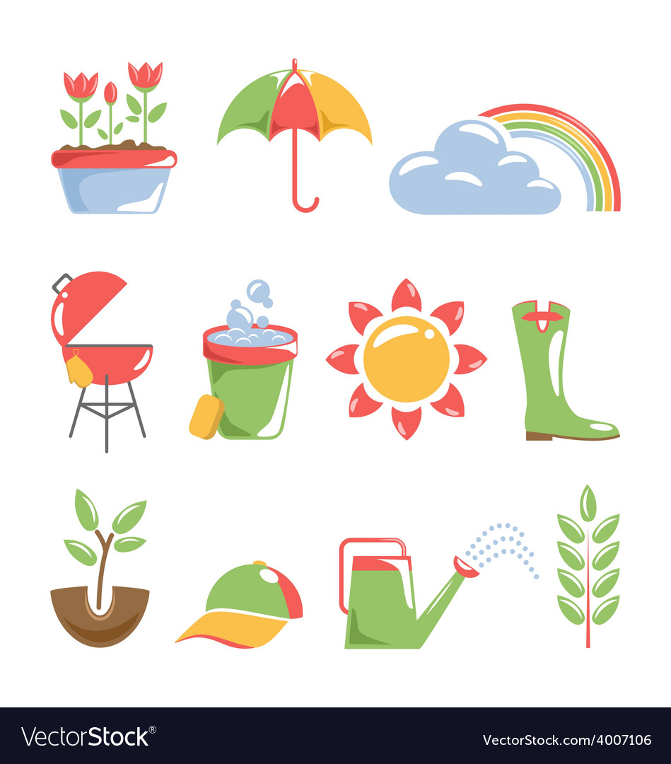 Spring icons isolated on white vector | Price: 1 Credit (USD $1)