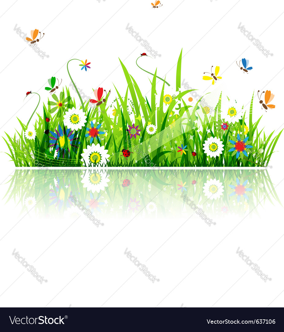 Summer green meadow vector | Price: 1 Credit (USD $1)