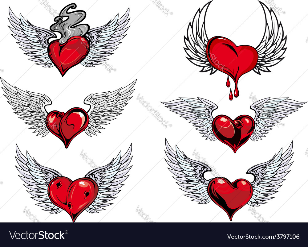 Winged heart icons and tattoos vector | Price: 1 Credit (USD $1)