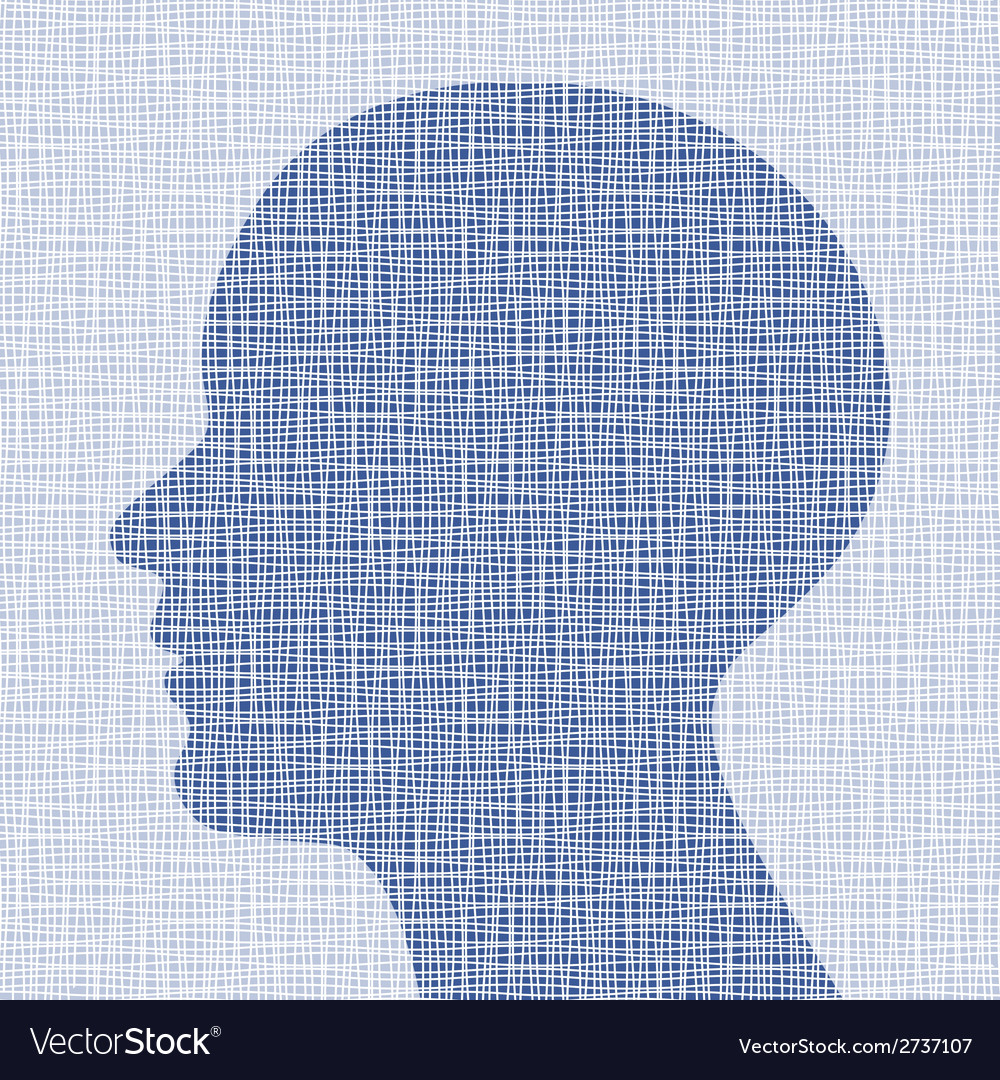 Blue head profile on canvas texture vector | Price: 1 Credit (USD $1)