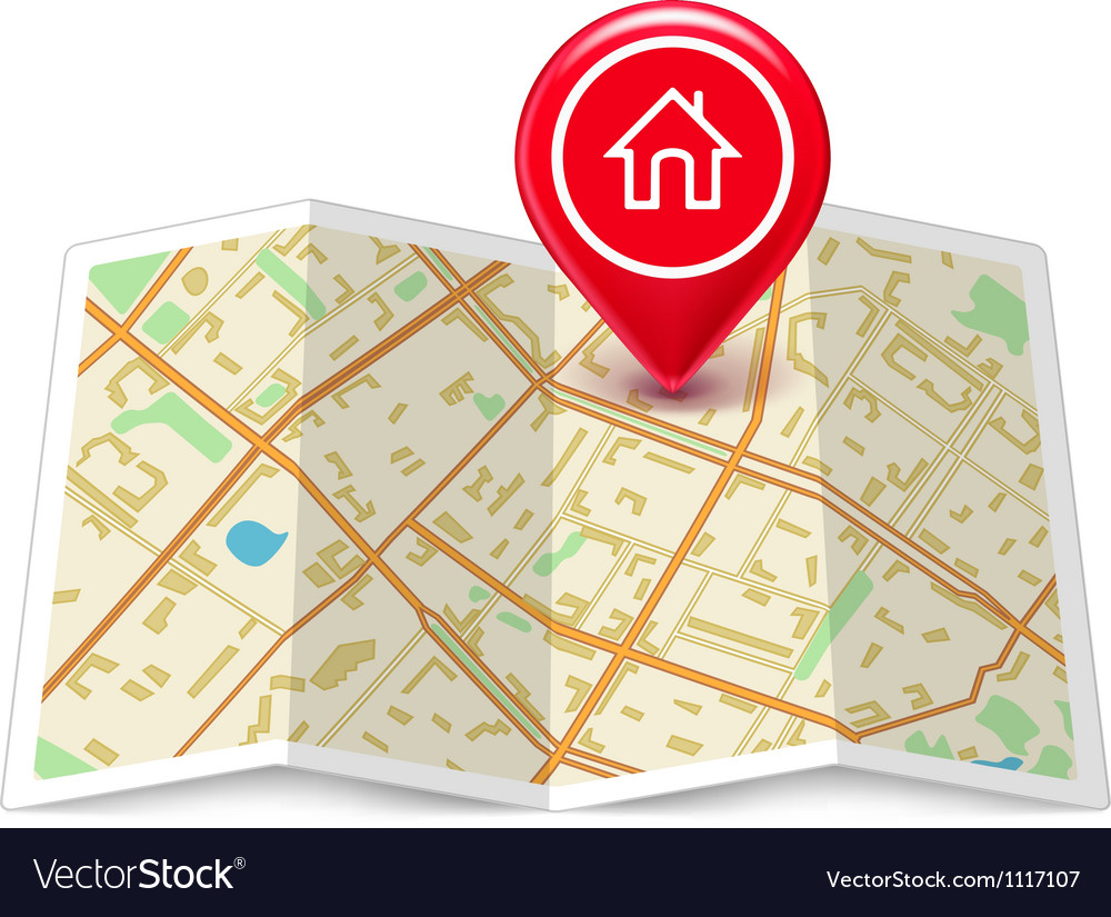 City map with label home pin vector | Price: 1 Credit (USD $1)