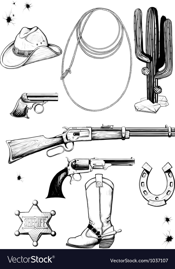 Cowboy and wild west accessories vector | Price: 1 Credit (USD $1)
