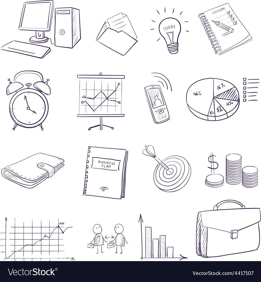 Hand draw doodle business icon set vector