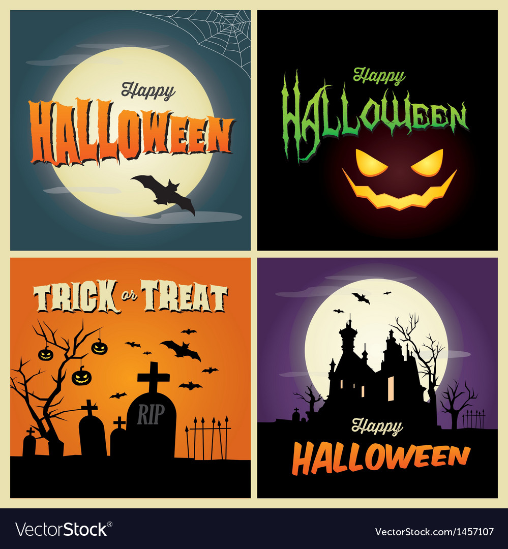 Happy halloween set card vector | Price: 3 Credit (USD $3)