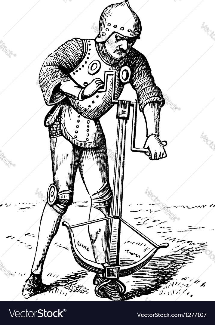 Medieval crossbowman vintage engraving vector | Price: 1 Credit (USD $1)