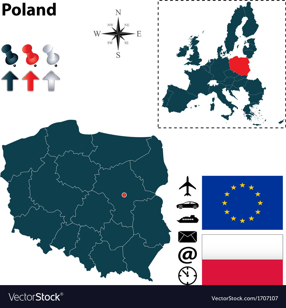 Poland and european union map vector | Price: 1 Credit (USD $1)