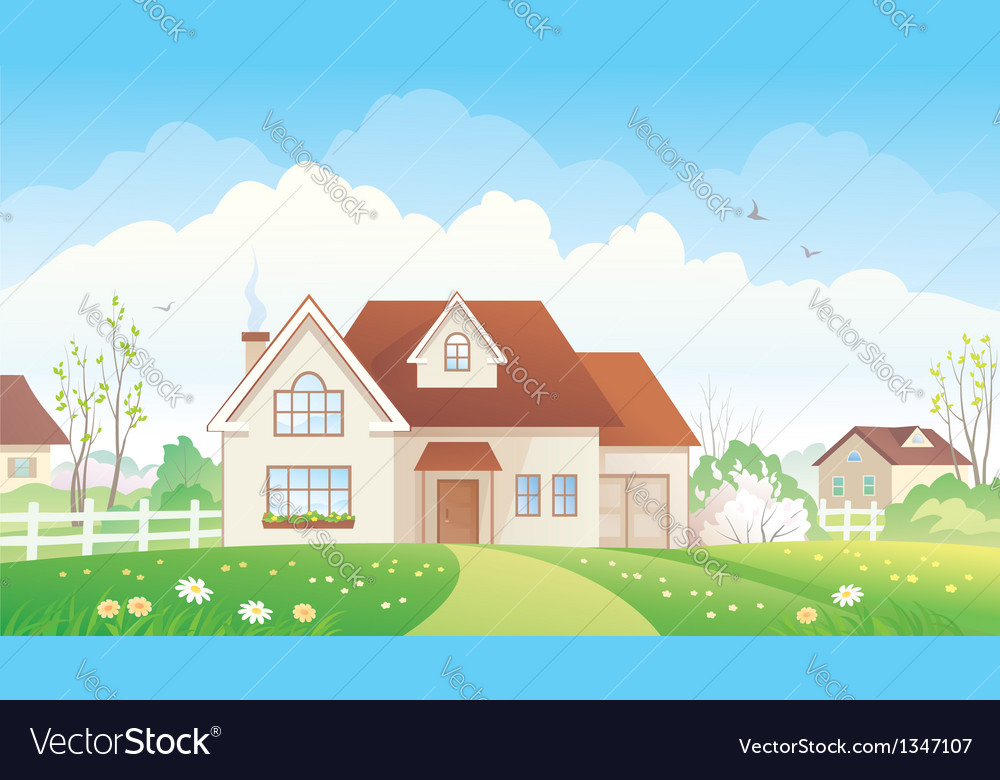 Spring cottage vector | Price: 3 Credit (USD $3)