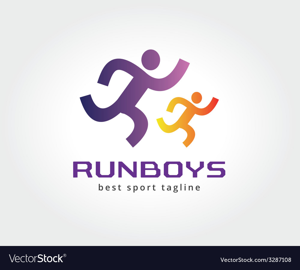 Abstract running people logo icon concept logotype vector | Price: 1 Credit (USD $1)