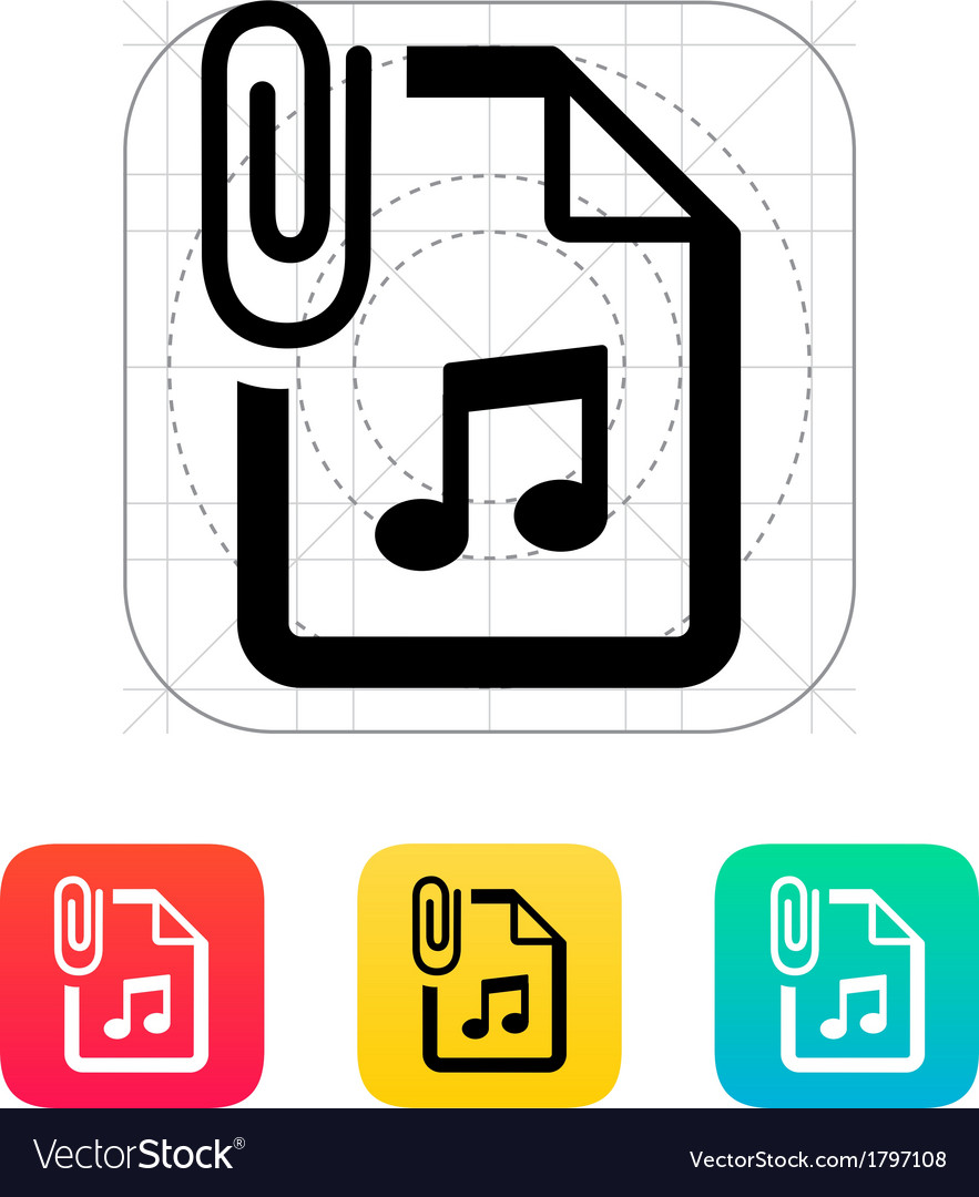 Attached audio file icon vector | Price: 1 Credit (USD $1)